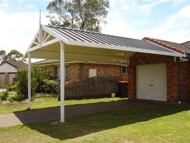 Carport covers and shelters walker home improvements for Gable roof carport